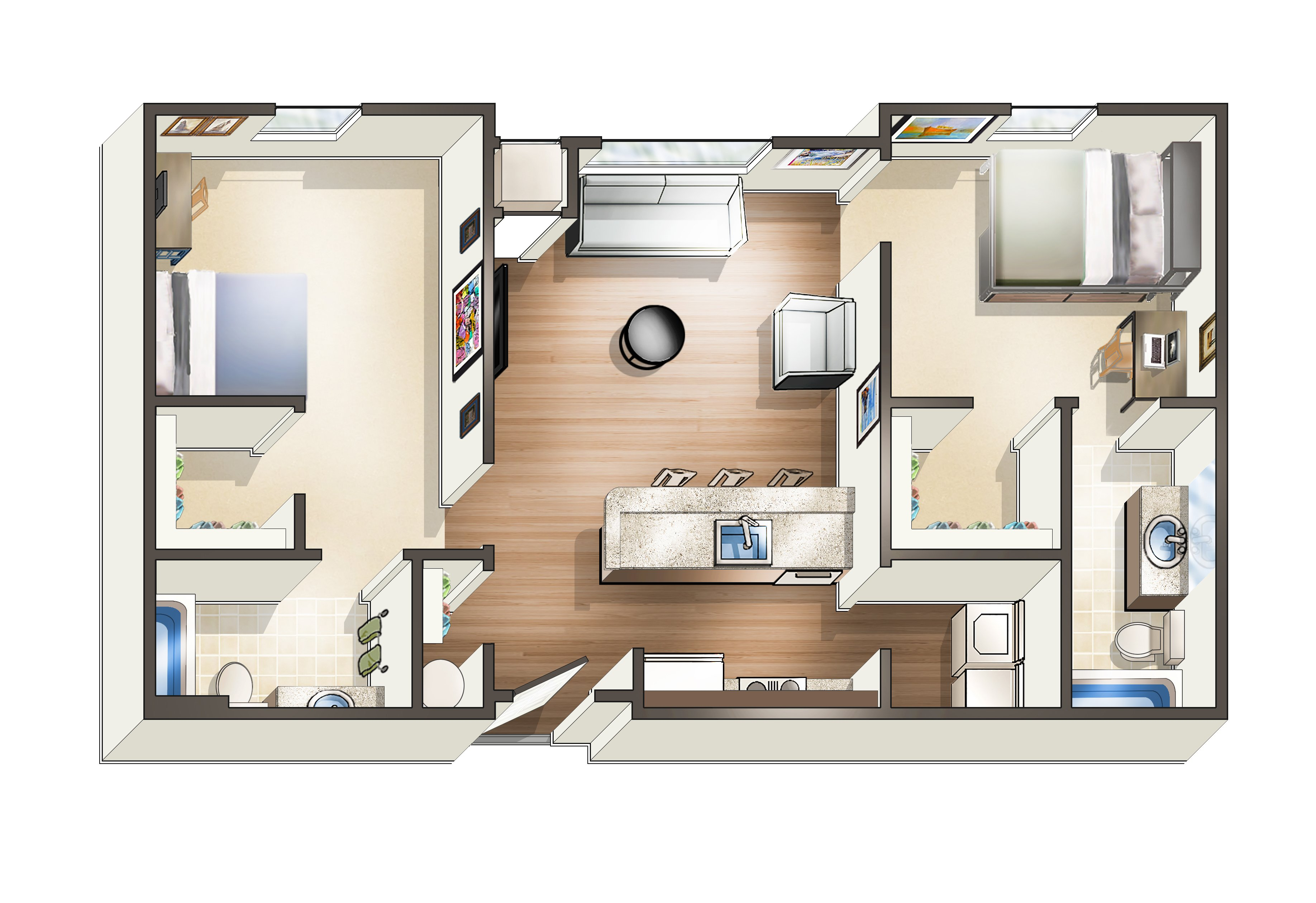 Two Bedroom Loft Floor Plans Modern Off Campus Student Apartments Near Uwf The Next
